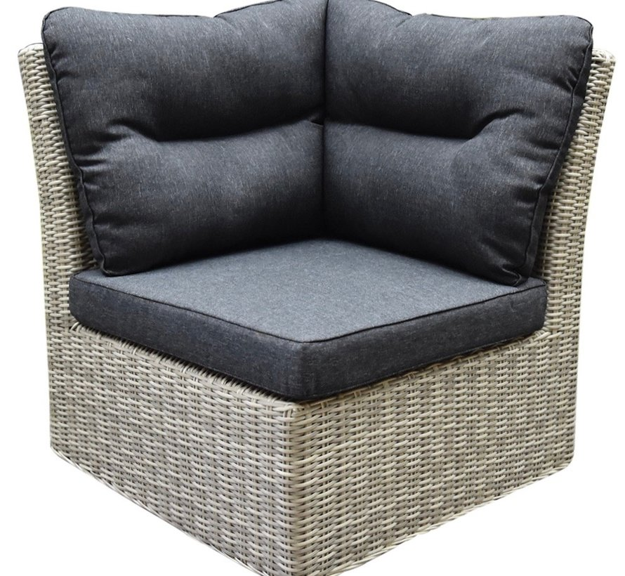 Cancun hoek loungeset loungeset 6-delig grijs wicker