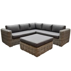 AVH-Collectie Cervo hoek loungeset 4-delig antraciet wicker