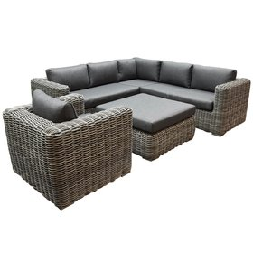 AVH-Collectie Cervo hoek loungeset 5-delig antraciet wicker