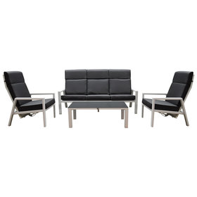 AVH-Collectie Palazzo loungeset 4-delig stoel-bank wit aluminium