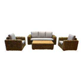 AVH-Collectie Sumatra stoel-bank loungeset 4-delig naturel rotan
