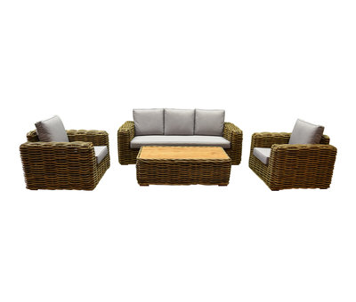 AVH-Collectie Sumatra stoel-bank 4-delig loungeset naturel rotan