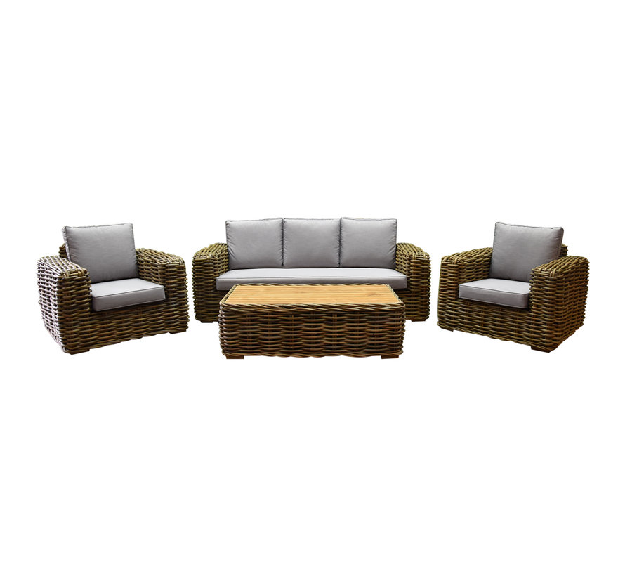 Sumatra stoel-bank 4-delig loungeset naturel rotan