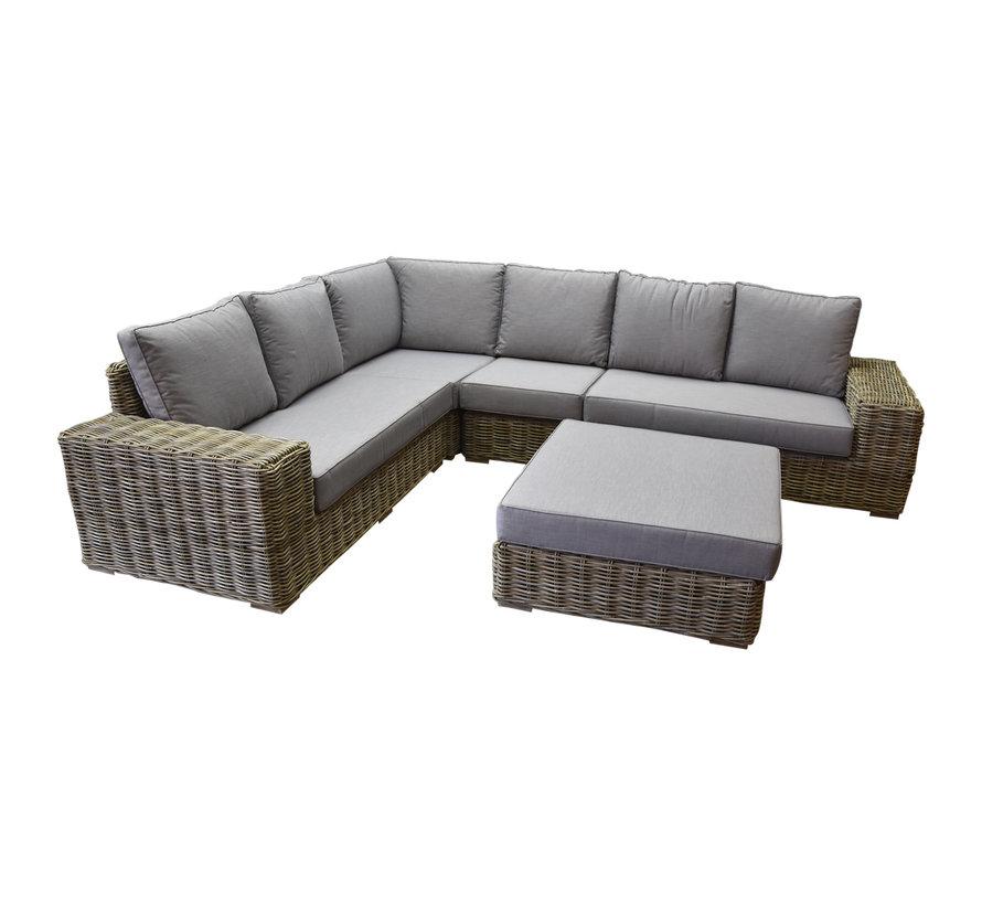Otava hoek loungeset 5-delig naturel rotan