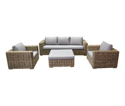 AVH-Collectie Serva stoel-bank loungeset 4-delig naturel rotan