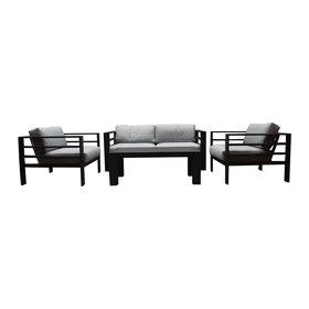 AVH-Collectie Almeria stoel-bank loungeset 4-delig aluminium antraciet