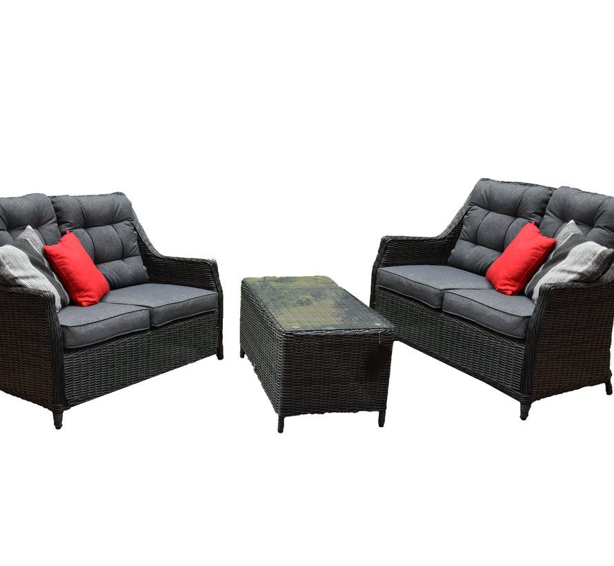 Dunham lounge bank + tafel set antraciet