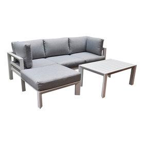 AVH-Collectie Lissabon chaise longue loungeset 3-delig wit aluminium