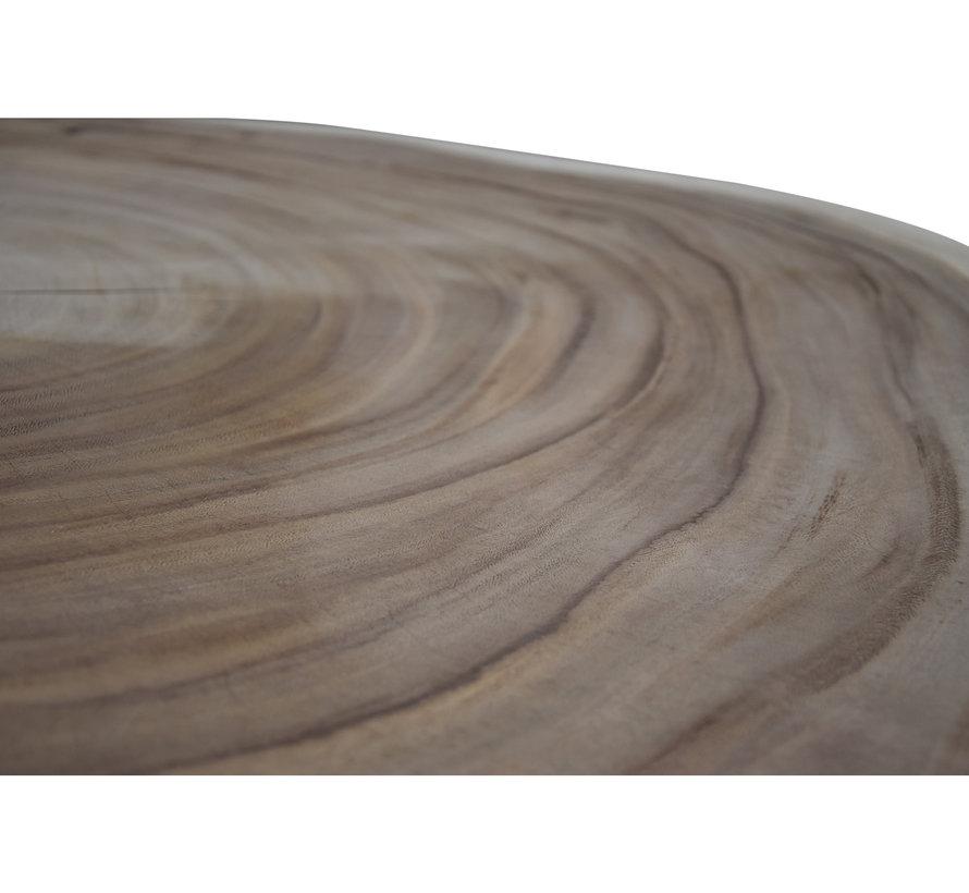 Boomstamtafel met metalen poten 100xH45 rond - bladdikte 8 cm