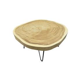 AVH-Collectie Boomstamtafel met metalen poten 80xH45 rond - bladdikte 6 cm