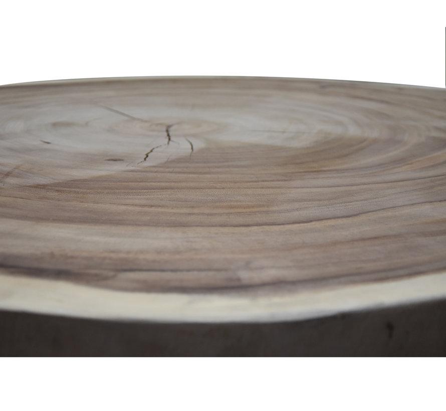 Boomstamtafel met metalen poten 80xH45 rond - bladdikte 6 cm