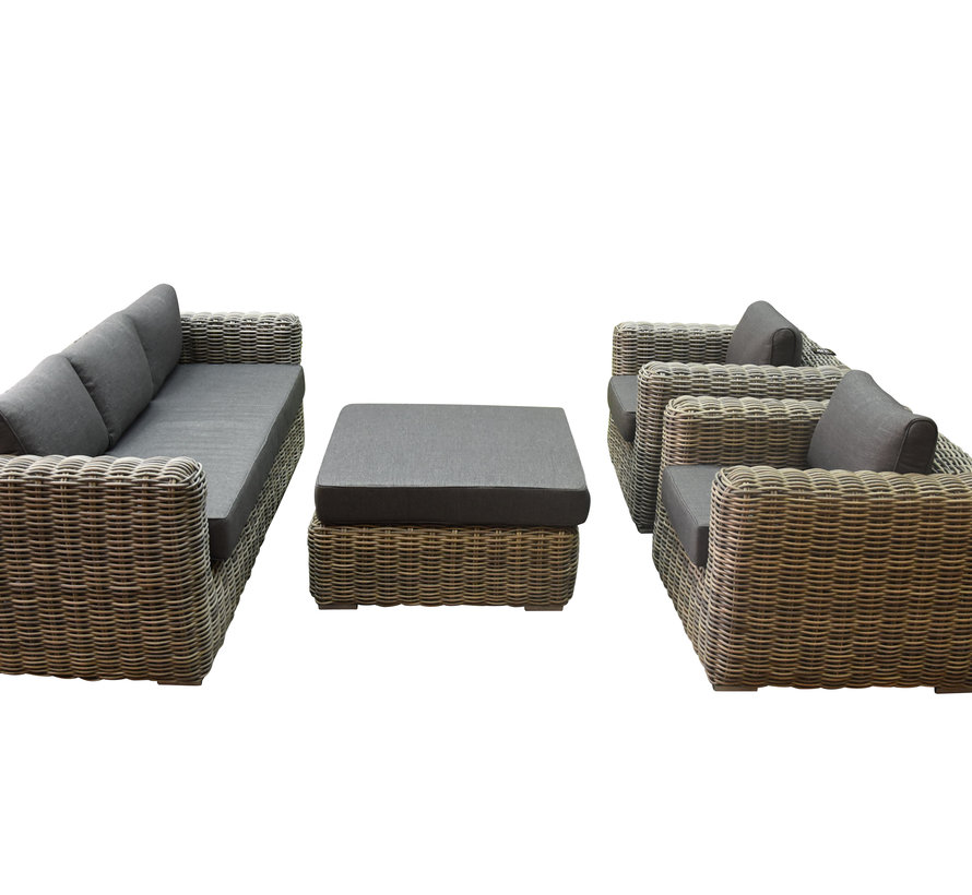 Cervo stoel bank loungeset 4-delig antraciet wicker