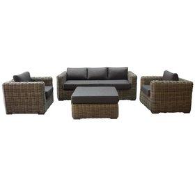 AVH-Collectie Cervo stoel bank loungeset 4-delig antraciet wicker