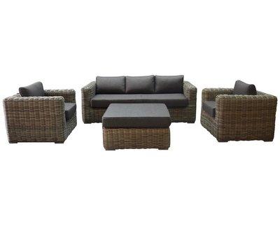 AVH-Collectie Cervo stoel bank loungeset 4-delig grijs  wicker