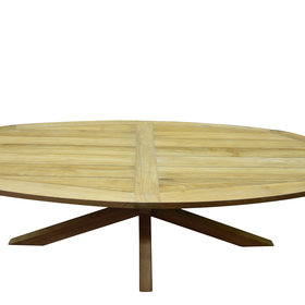 AVH-Collectie Ellips dining tuintafel 280x130xH76 cm met kruispoot teak