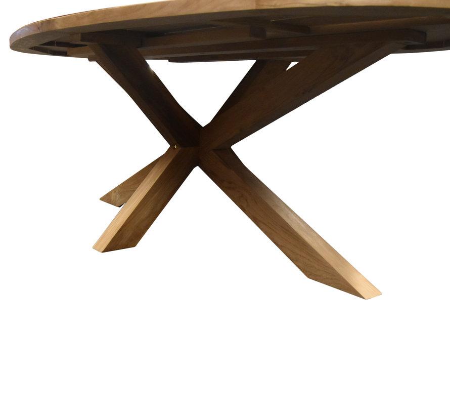 Ellips dining tuintafel 280x130xH76 cm met kruispoot teak