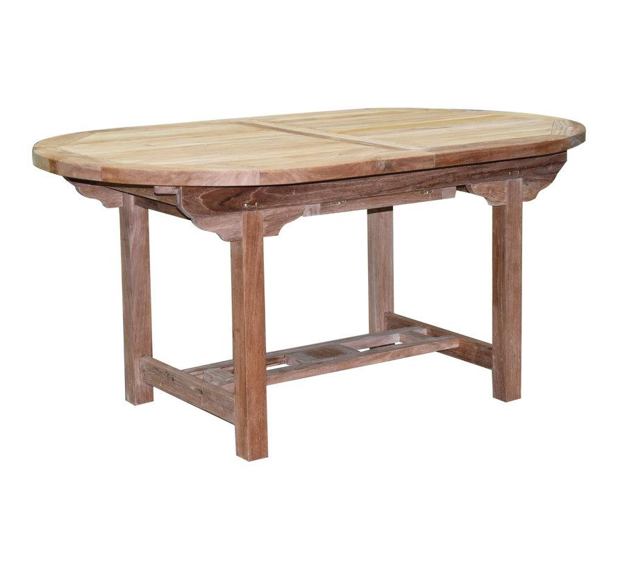 Arona Ovaal uitschuifbare dining tuinset 160-210x90xH76 cm blad 4 cm 5-delig teak