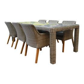 AVH-Collectie Bergamo Ponte dining tuinset 240x100xH75cm 6-delig  grijs