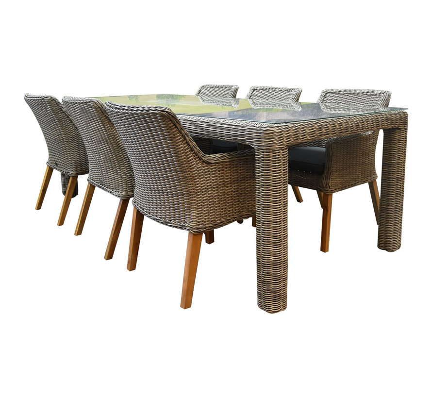 Bergamo Ponte dining tuinset 240x100xH75cm 6-delig  grijs