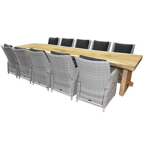AVH-Collectie Boomstam Bilbao dining tuinset 400x90xH77,5 cm 11-delig