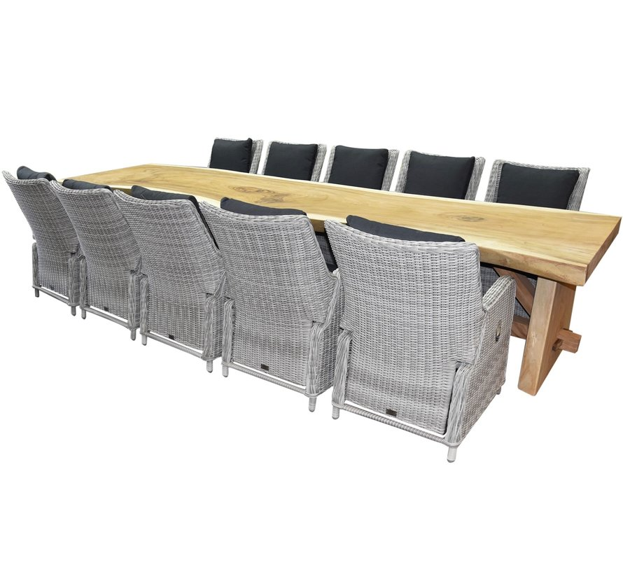Boomstam Bilbao dining tuinset 400x90xH77,5 cm 11-delig