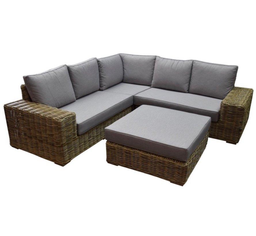 Otava hoek loungeset 4-delig naturel rotan