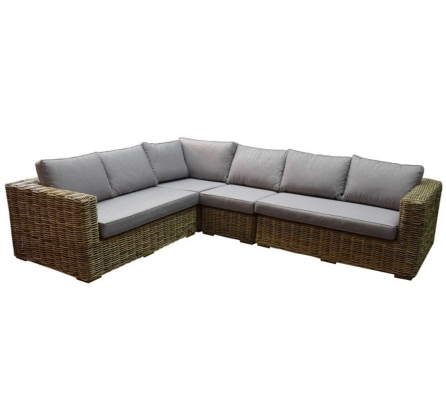 Serva hoek loungeset 4-delig naturel rotan