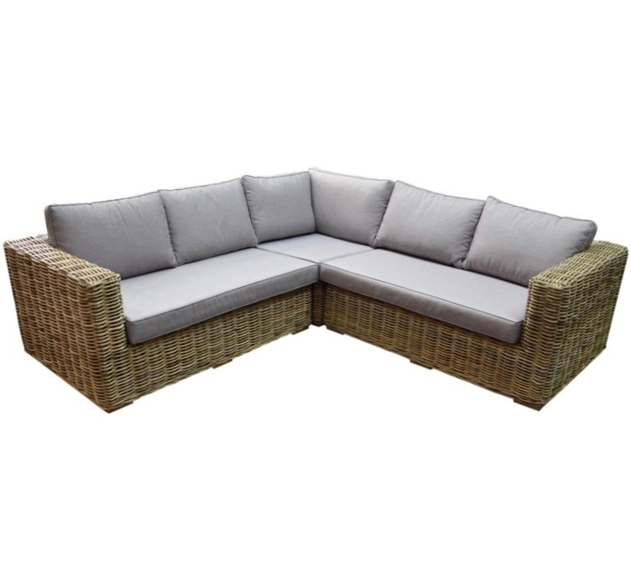 Serva hoek loungeset 3-delig naturel rotan