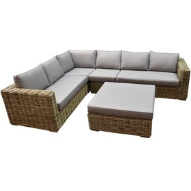 AVH-Collectie Serva hoek loungeset 5-delig naturel rotan