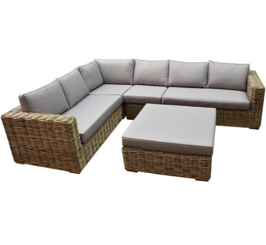 Serva hoek loungeset 5-delig naturel rotan