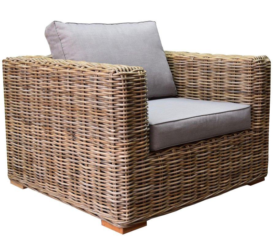 Serva lounge tuinstoel naturel rotan