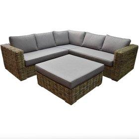 AVH-Collectie Serva hoek loungeset 4-delig naturel rotan