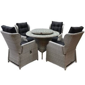 AVH-Collectie Ibiza Riccione dining tuinset 110cm rond 6-delig wit verstelbaar