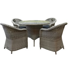 AVH-Collectie Chester Riccione dining tuinset 110cm rond 5-delig wit
