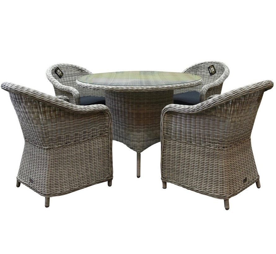 Chester Riccione dining tuinset 110cm rond 5-delig wit