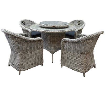 AVH-Collectie Chester Riccione dining tuinset 110cm rond 6-delig wit
