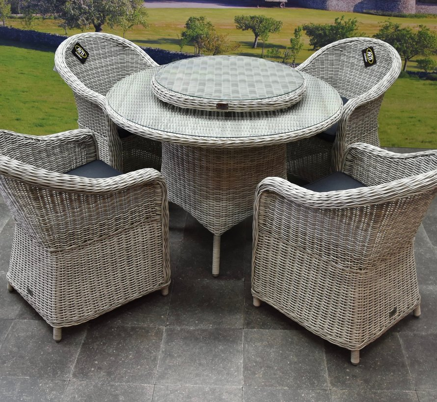 Chester Riccione dining tuinset 110cm rond 6-delig wit