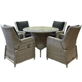 AVH-Collectie Bilbao Riccione dining tuinset 110 cm rond 5-delig wit verstelbaar