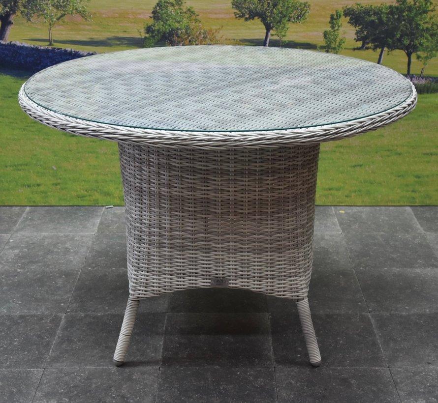 Bilbao Riccione dining tuinset 110 cm rond 5-delig wit verstelbaar
