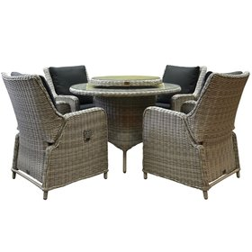 AVH-Collectie Bilbao Riccione dining tuinset 110 cm rond 6-delig wit verstelbaar