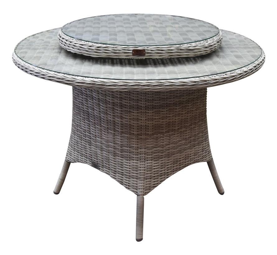 Capri Riccione dining tuinset 110 cm rond 6-delig wit