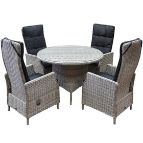 AVH-Collectie Empoli Riccione dining tuinset 110 cm rond 5-delig wit
