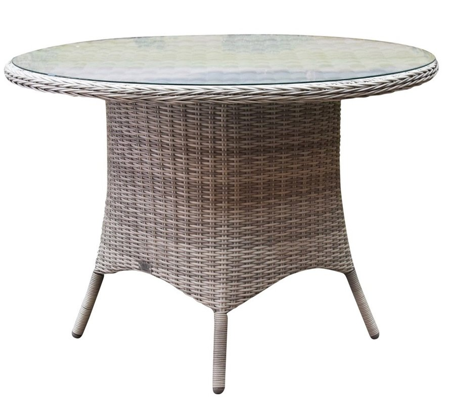 Empoli Riccione dining tuinset 110 cm rond 5-delig wit