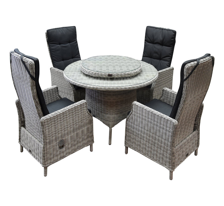Empoli Riccione dining tuinset 110 cm rond 6-delig wit