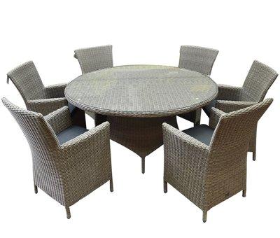 AVH-Collectie Capri Riccione dining tuinset 150 cm rond 7-delig grijs