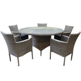 AVH-Collectie Capri Riccione dining tuinset 150 cm rond 6-delig grijs