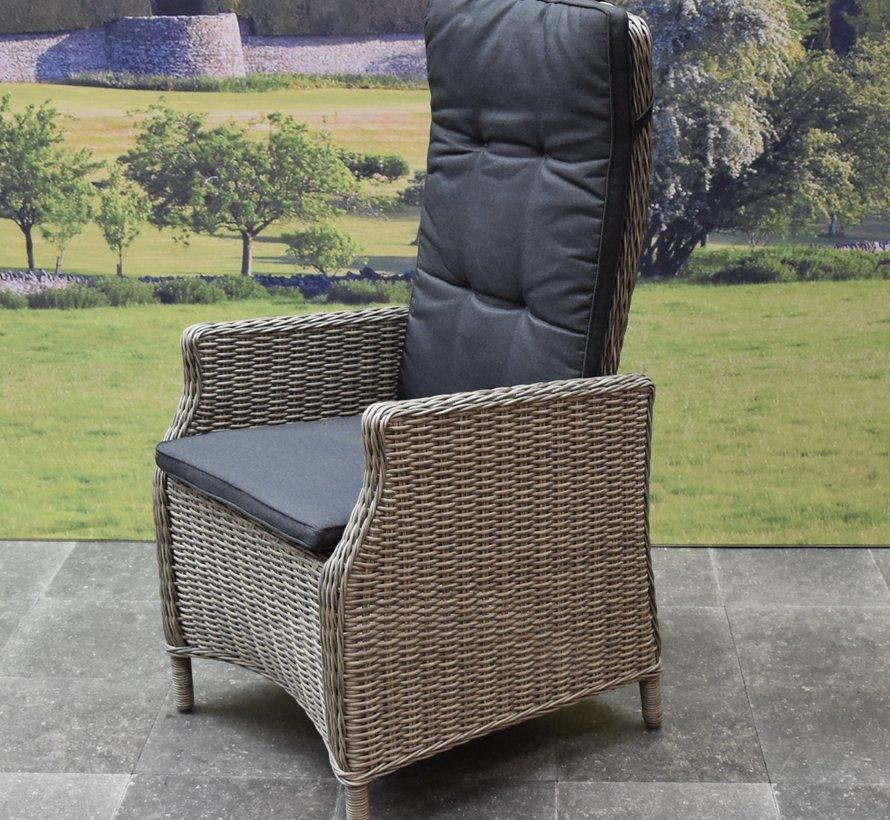 Empoli Riccione dining tuinset 150 cm 7-delig grijs verstelbaar