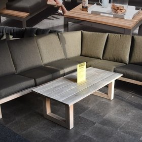 AVH-Collectie Cannes complete teakhouten hoek loungeset 6-delig - outlet