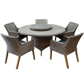 AVH-Collectie Ponte wooden legs Riccione dining tuinset 150 cm 7-delig grijs