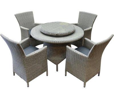 AVH-Collectie Capri Riccione dining tuinset 110 cm rond 6-delig grijs
